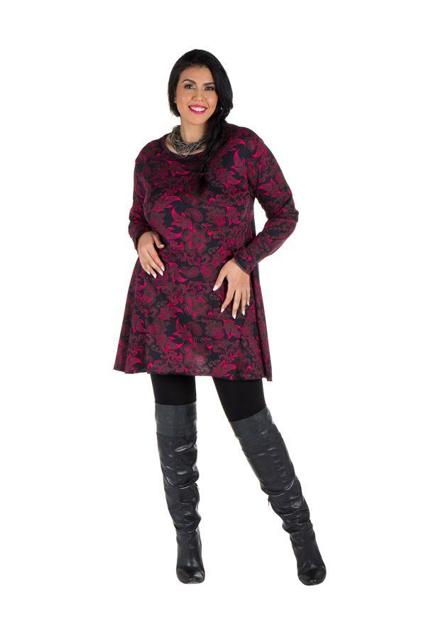 Tunique imprimée feuillage Noire et Rose Lazy en Grande taille 301087