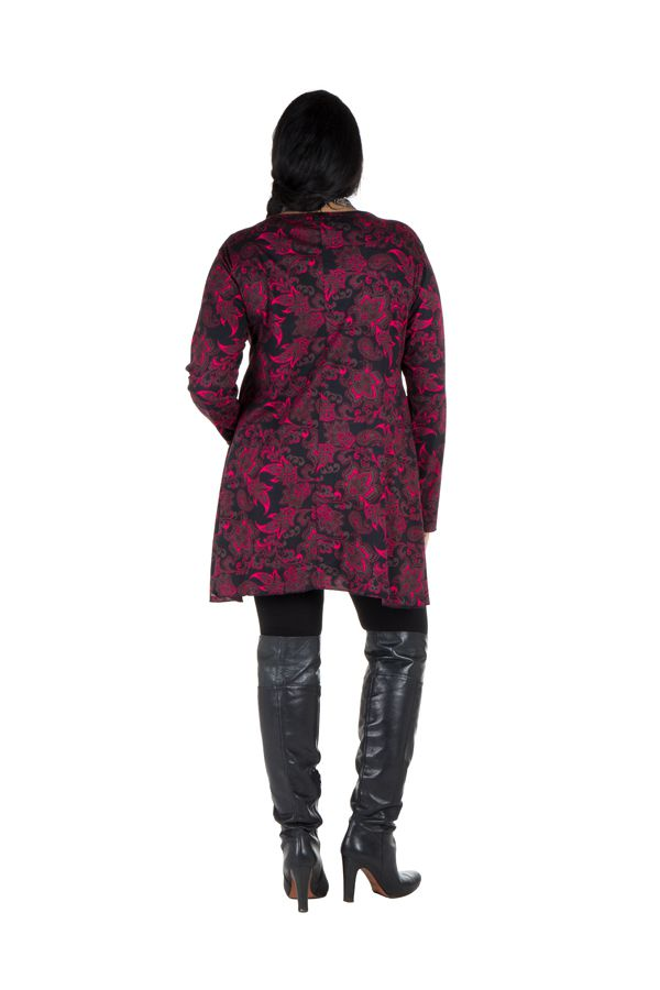 Tunique imprimée feuillage Noire et Rose Lazy en Grande taille 301088