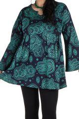 Tunique imprimée Main de Fatima en Grande taille Lauraly Bleue 301695