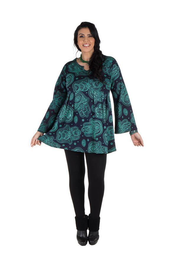 Tunique imprimée Main de Fatima en Grande taille Lauraly Bleue 301697