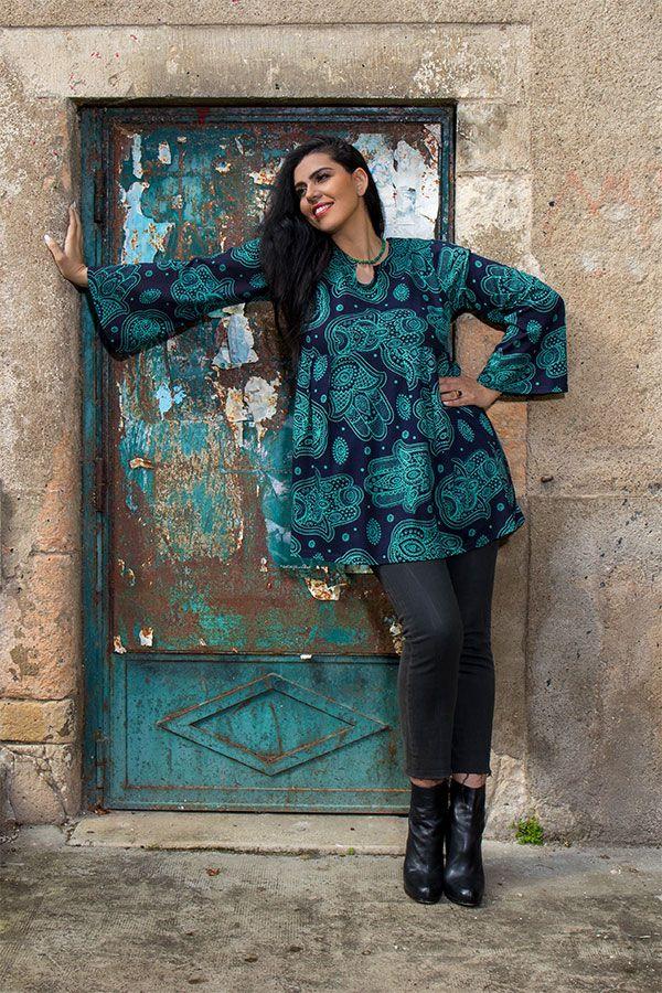 Tunique imprimée Main de Fatima en Grande taille Lauraly Bleue 301701