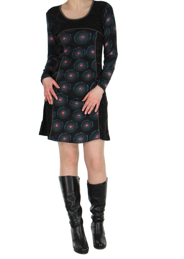 Tunique imprimée noire avec poches Dounia 267139