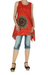 Tunique imprimée rouge col rond Mayami 267717