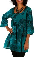 Tunique imprimée turquoise à encolure carrée Karline