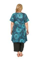 Tunique imprimée turquoise asymétrique grande taille Emmy