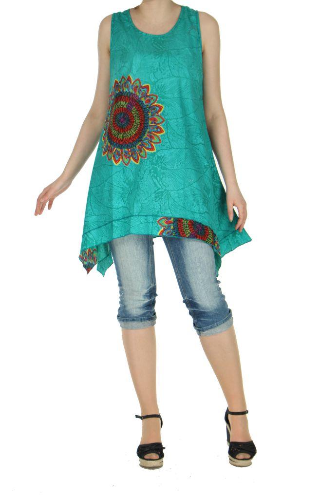 Tunique imprimée turquoise col rond Mayami 267721