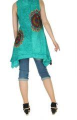 Tunique imprimée turquoise col rond Mayami 267722