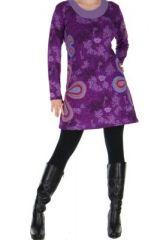 Tunique imprimée violette Flowen 266444