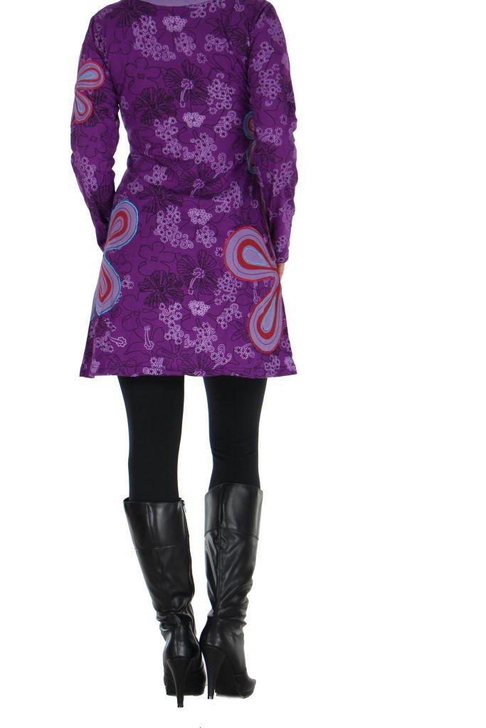 Tunique imprimée violette Flowen 266445
