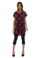 tunique imprimés rouge et noire avec col style mandarin Tamise 290040
