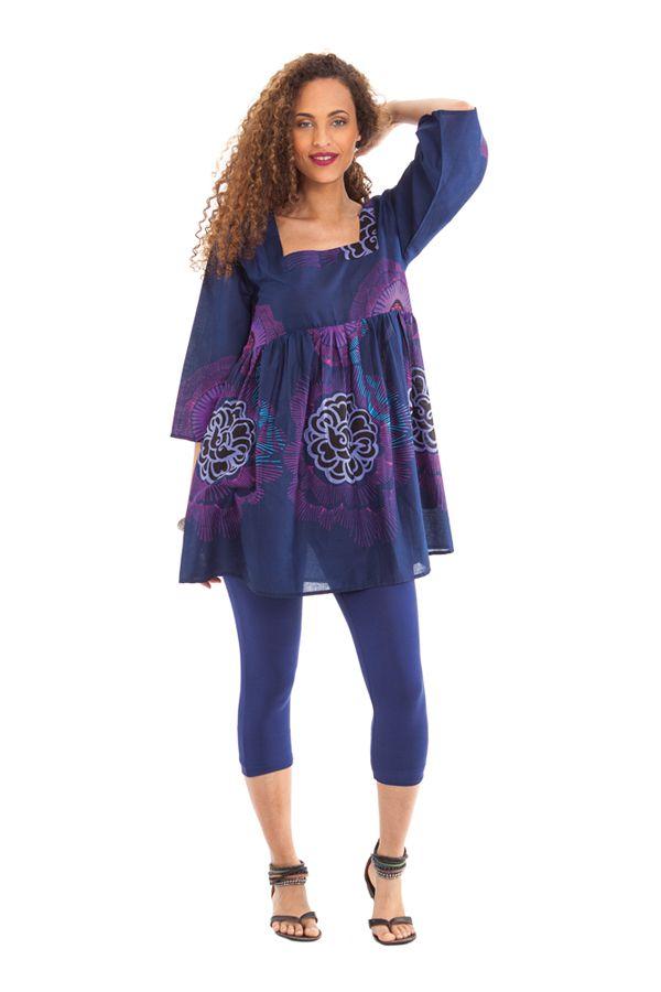 Tunique Indigo à manches 3/4 Ethnique et Originale Jessica 281983
