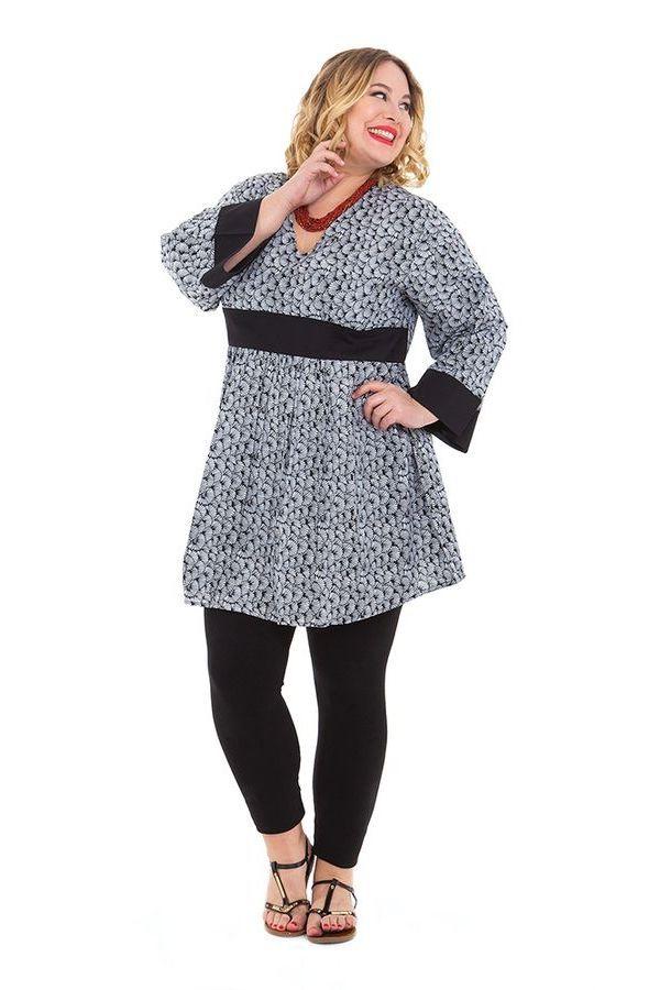 Tunique légère Blanche pour Femme ronde Originale et Colorée Daisy 284456