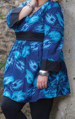 Tunique légère pour Femme ronde Originale et Colorée Daisy Bleue 284461