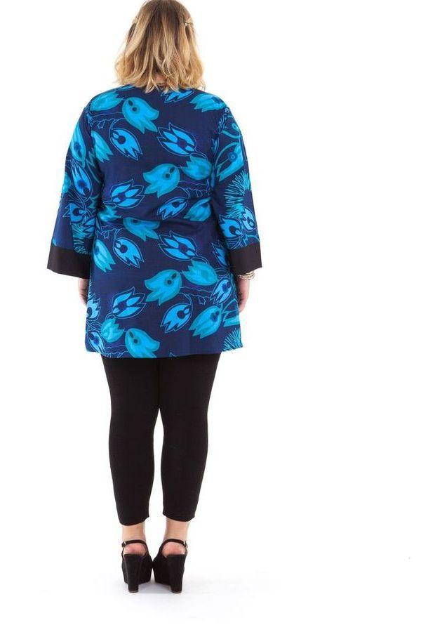 Tunique légère pour Femme ronde Originale et Colorée Daisy Bleue 284462