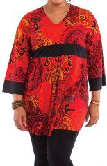 Tunique légère pour Femme ronde Rouge Originale et Colorée Daisy 284458