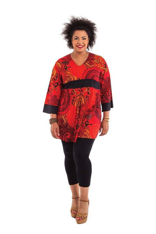 tunique l g re pour femme ronde rouge originale et color e daisy. Black Bedroom Furniture Sets. Home Design Ideas