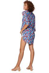Tunique longue femme imprimé à fleurs rouge Vibeke