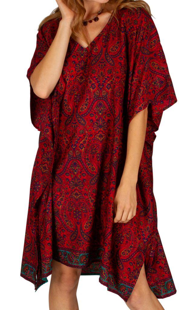 Tunique longue imprimée rouge manches courtes sheryl