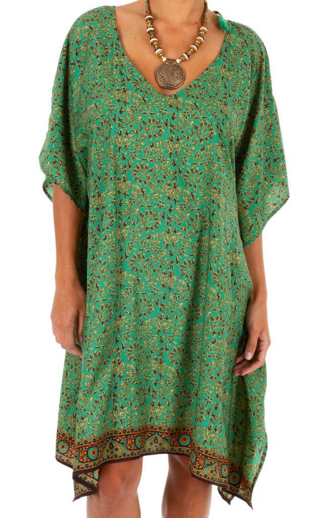 Tunique longue imprimée verte ethnique-chic Kayleen