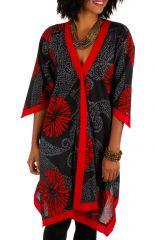 Tunique longue noire et rouge coupe asymétrique Sanda