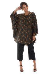 tunique manches longues chauve-souris avec imprimés ethniques Keekle 290029