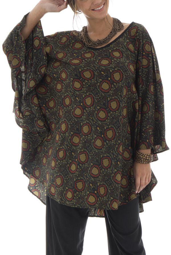 tunique manches longues chauve-souris avec imprimés ethniques Keekle 292056