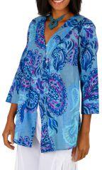 Tunique mi-saison pour femme imprimée et chic Asmara bleue 314423