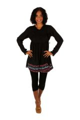 Tunique noire à manches longues élégante et chic Tatiana
