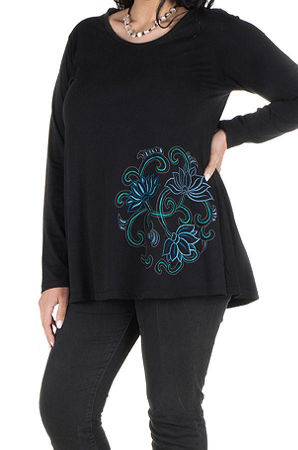 Tunique Noire à manches longues grande taille féminine à col rond Ilyana 299995