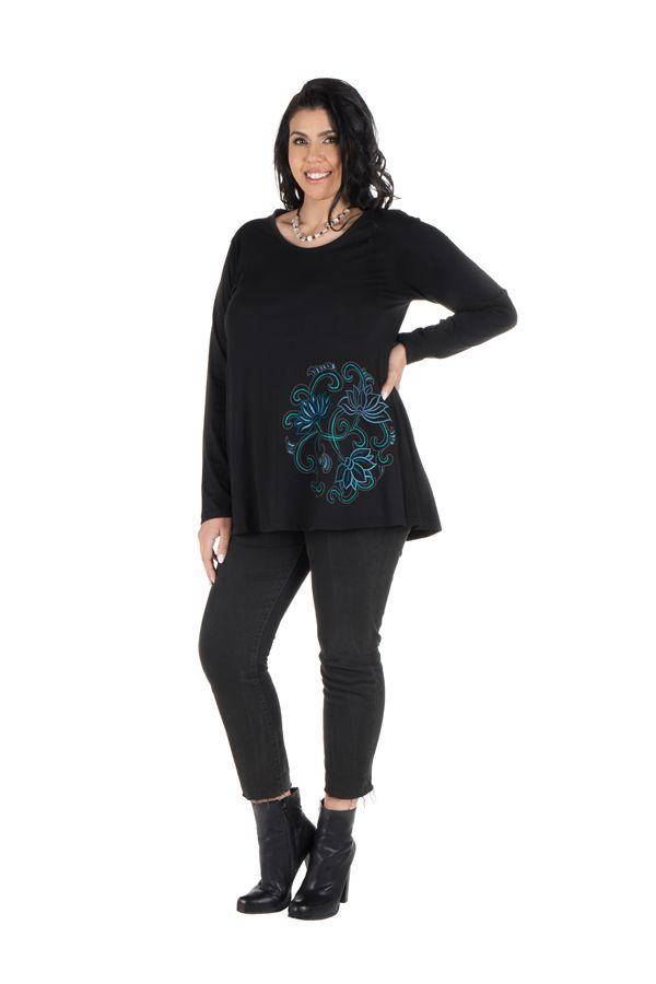 Tunique Noire à manches longues grande taille féminine à col rond Ilyana 299996