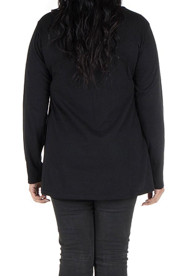 Tunique Noire à manches longues grande taille féminine à col rond Ilyana 299997