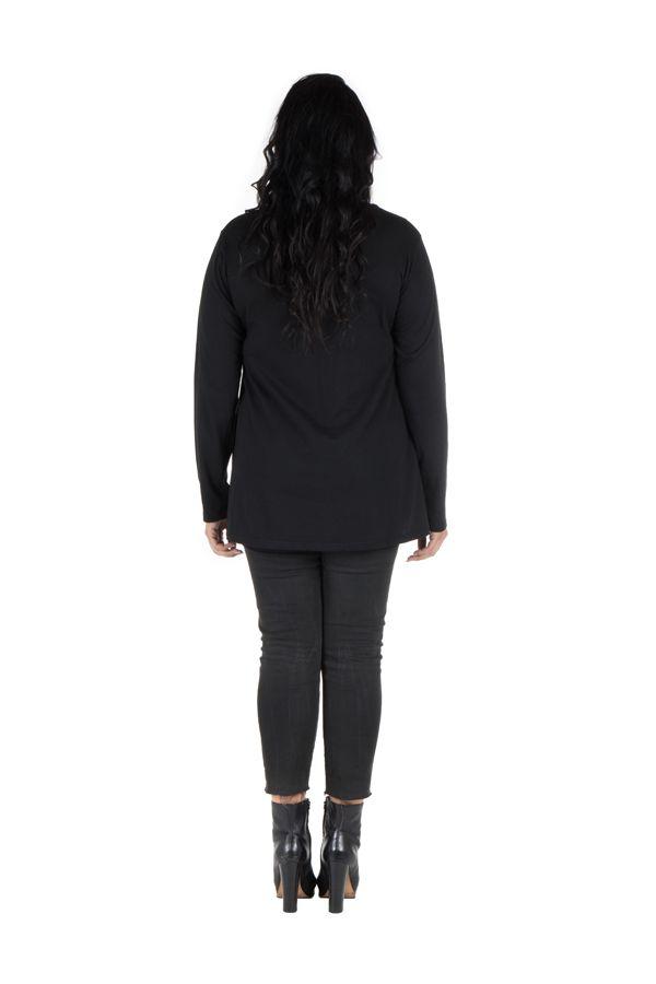 Tunique Noire à manches longues grande taille féminine à col rond Ilyana
