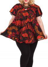 Tunique Noire à motifs Rouges pour femme pulpeuse Ethnique Brigitte 284490