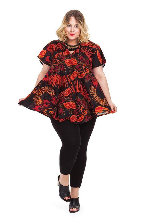 Tunique noire motifs rouges pour femme pulpeuse ethnique - Femme pulpeuse image ...