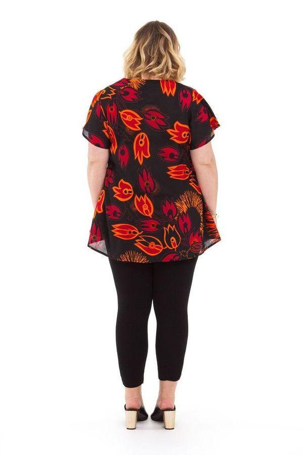 Tunique Noire à motifs Rouges pour femme pulpeuse Ethnique Brigitte 284493