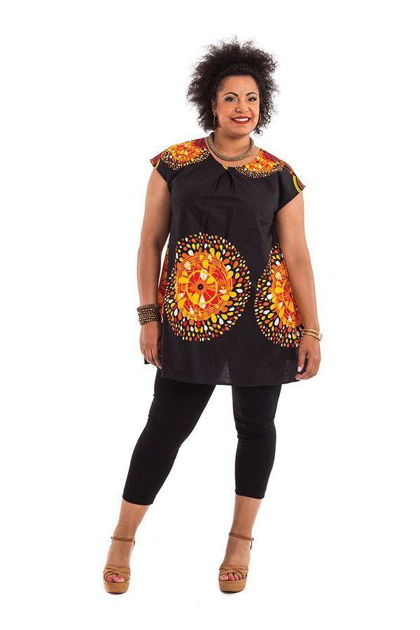 Tunique Noire ample à manches courtes Colorée Barbara 284527
