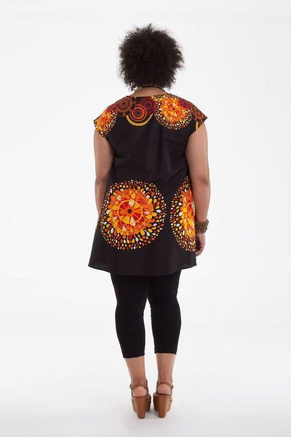 Tunique Noire ample à manches courtes Colorée Barbara 284528