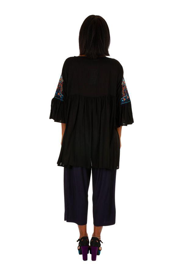 Tunique noire ample brodée avec des manches 3/4 look bohème Lara 306010