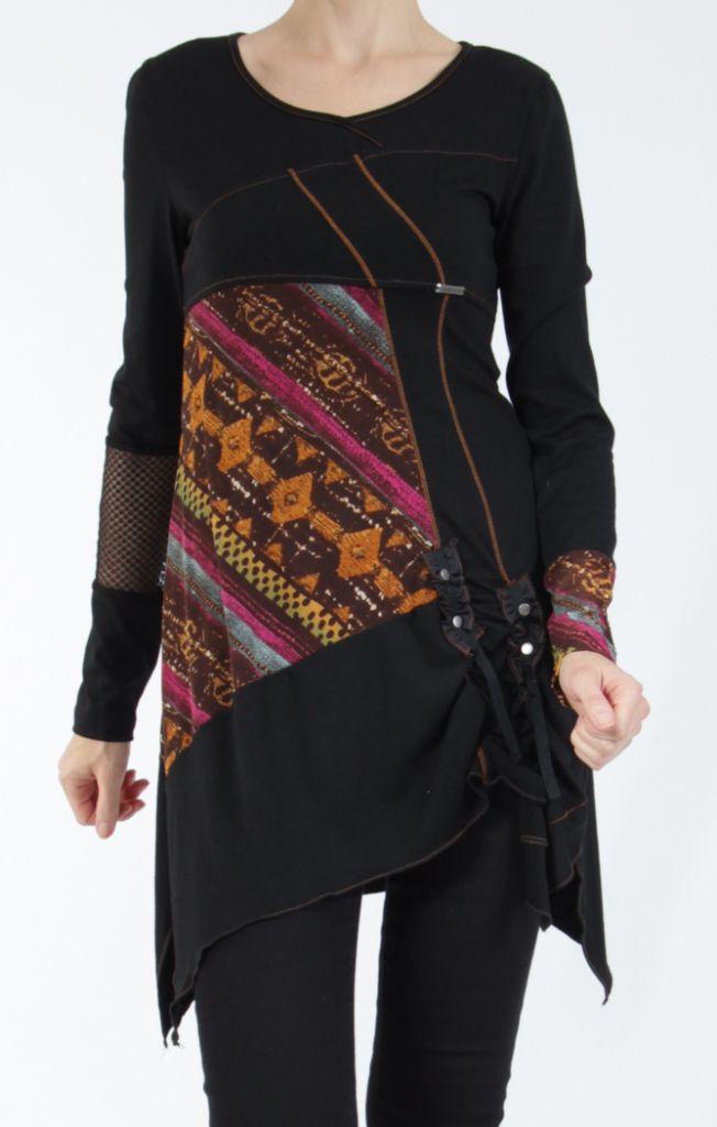 Tunique noire coupe asymétrique motifs fantaisies Labah 304865
