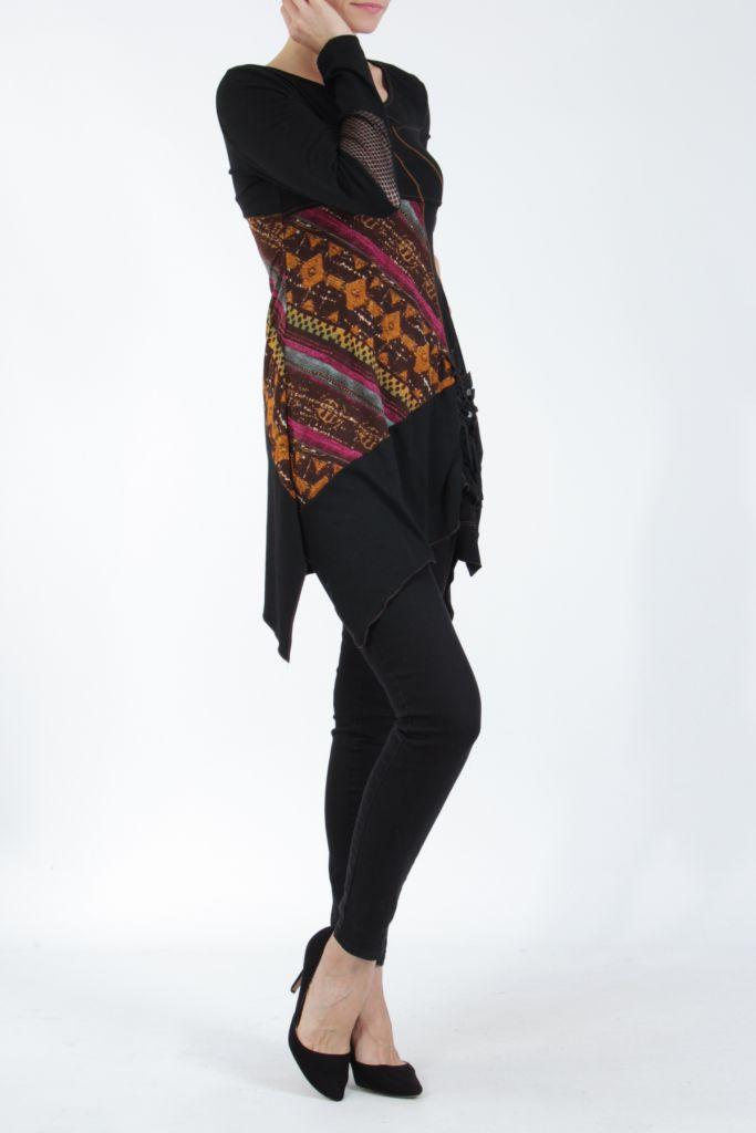 Tunique noire coupe asymétrique motifs fantaisies Labah 304866