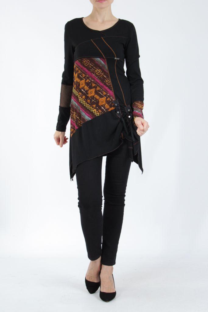 Tunique noire coupe asymétrique motifs fantaisies Labah 304867