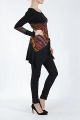 Tunique noire coupe asymétrique motifs fantaisies Labah 304868