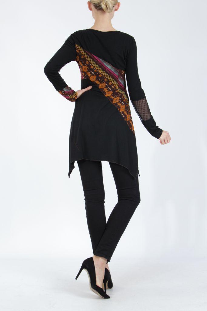 Tunique noire coupe asymétrique motifs fantaisies Labah 304869