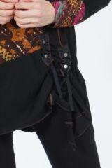 Tunique noire coupe asymétrique motifs fantaisies Labah 304870