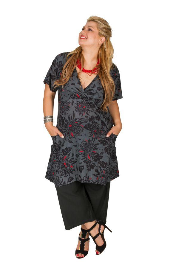 Tunique noire et grise grande taille imprimé floral Indigo