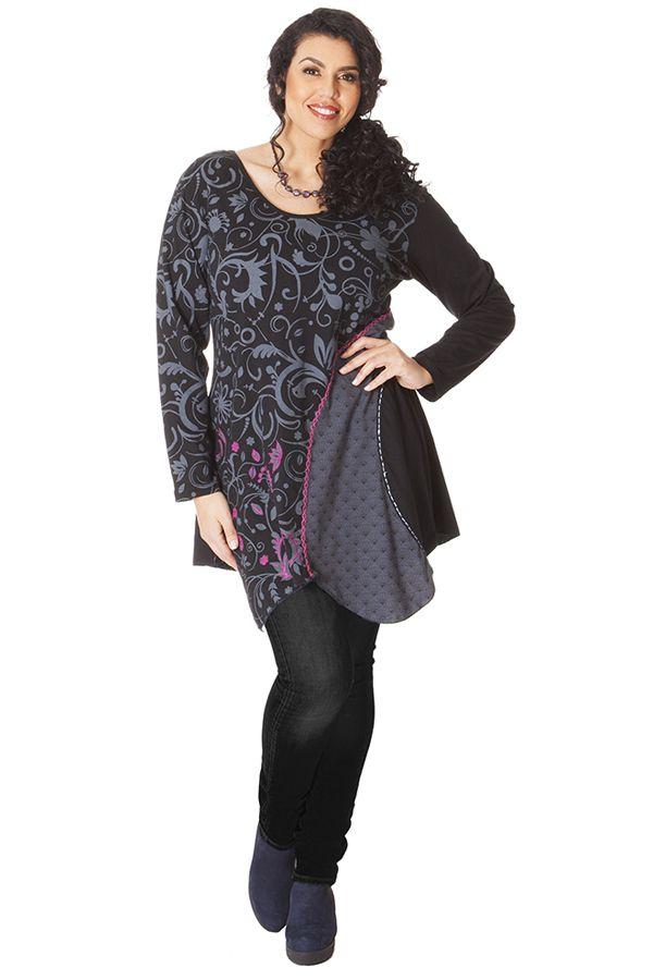 Tunique noire et grise pour femme pulpeuse asym trique makena - Femme pulpeuse image ...
