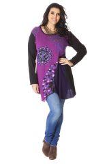 Tunique Noire et Rose Grande taille Originale et Asymétrique Maria 286554