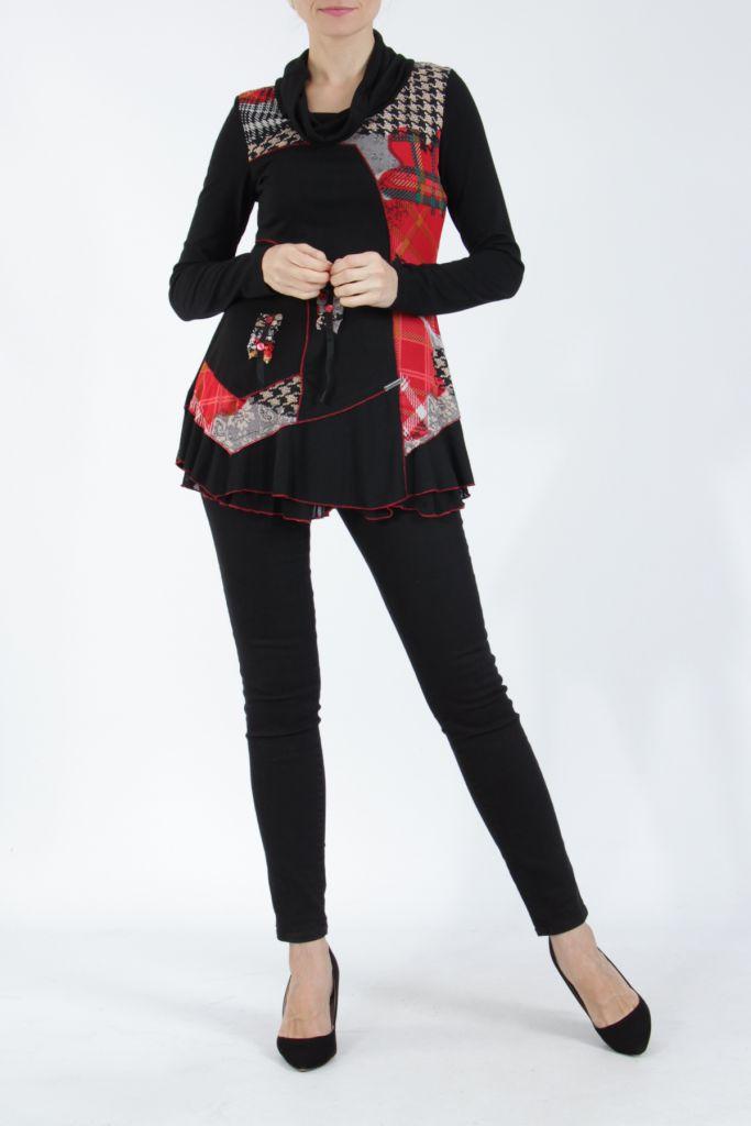 Tunique noire et rouge à col roulé et manches longues Wayne 304940