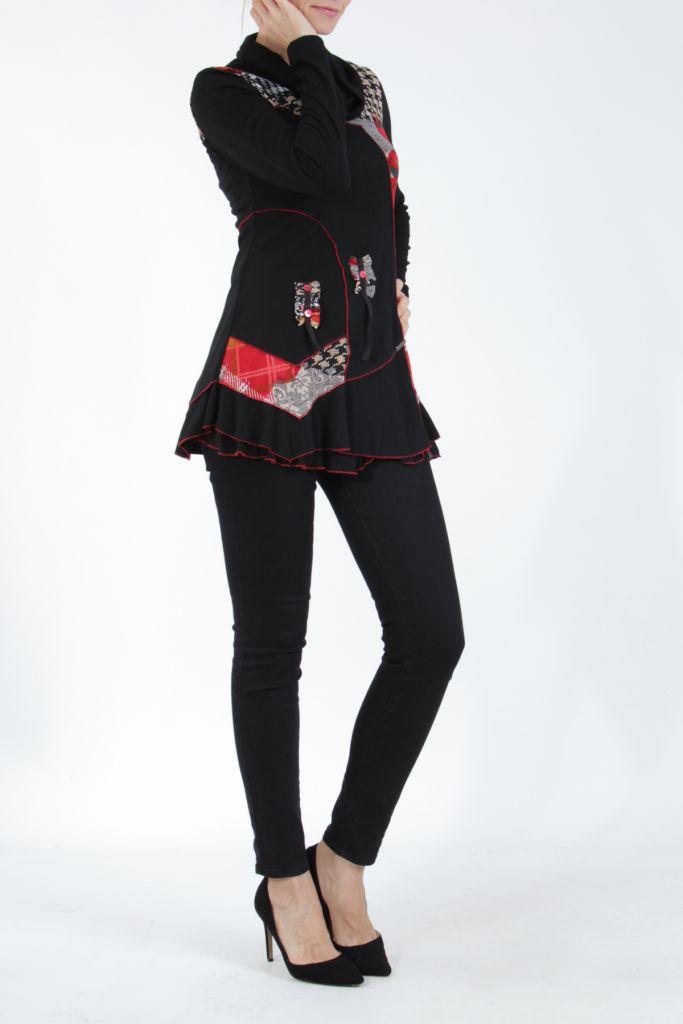Tunique noire et rouge à col roulé et manches longues Wayne 304941