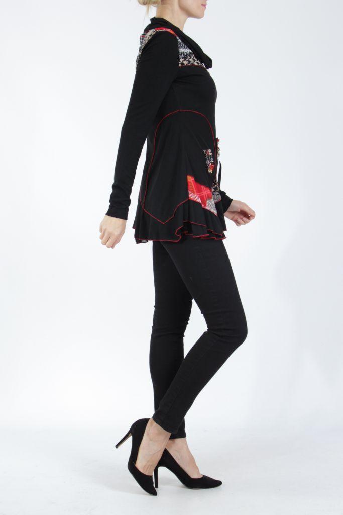 Tunique noire et rouge à col roulé et manches longues Wayne 304942